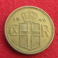 Iceland  1 Krona 1940 KM# 3.2  Islandia Islande Island Ijsland - Islande