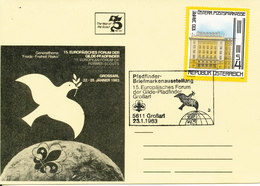 Austria Card Pfadfinder Briefmarkenausstellung 15. Europäisches Forum Der Gilde-Pfadfinder Grossari 23-11-1983 - Scoutisme