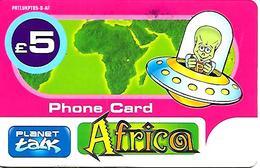 CARTE+PREPAYEE-GB-5£-PLANET TALK-AFRICA-Plastic Fin-GRATTE- TBE - Royaume-Uni