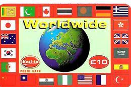 CARTE+PREPAYEE-GB-10£-WORLDWIDE -Plastic Fin Glacé-GRATTE- TBE - Royaume-Uni