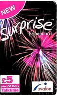 2 CARTES+PREPAYEES-GB--5£-AVALON-SURPRISE-Plastic FinGRATTE- TBE - Royaume-Uni