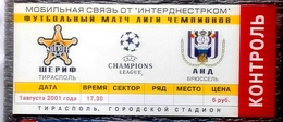 Football Tickets -  F.C.  SHERIFF V. S.C. ANDERLECHT ,  2001 ,  EURO - CUP. - Habillement, Souvenirs & Autres