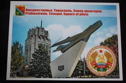 Moldova / Transnistria (PRIDNESTROVIE). Tiraspol. Plane - Avion - State Emblem -  Modern Postcard - Moldova