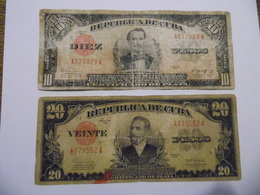 Cuba Kuba Куба 10 Pesos 1943 + 20 Pesos 1945 Very Heavily Used Preservation !!! - Cuba