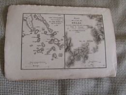 Carte Plan De L`Ile De Délos Et D`Une Partie Des Iles Voisines Par J.D.Barbié Du Bocage 1798 - Mapas Geográficas