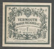 Etiquette 11,5 / 10,5 Cm : Vermouth - Nugue Richars & Cie Béziers - Etiquettes