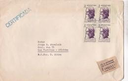 ENVELOPPE GRAND FORMAT CIRCULEE 1961 A LAS VARILLAS(CORDOBA) RECOMMANDE, RABINDRANATH TAGORE STAMP BLOCK - BLEUP - Argentinië
