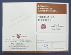 Roompass, Zimmerausweis, Hotel Colosseo, Shkodër, Scutari, Albania - Tourism Brochures