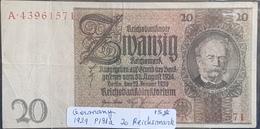 EBN1 - Germany 1929 Banknote 20 Reichsmark Pick #181a A.43961571 - [ 3] 1918-1933: Weimarrepubliek