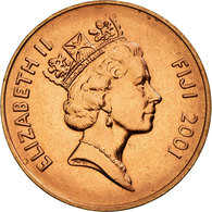 Monnaie, Fiji, Elizabeth II, 2 Cents, 2001, SUP, Copper Plated Zinc, KM:50a - Fiji