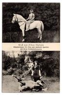 Gruß Aus Zirkus Olympia, Künstlerinnen Sperlich Mit Ihren Freiheitsdressuren, Pferde, Alte Ansichtskarte - Zirkus