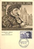 Jacques Coeur YT 1034 Premier Jour Bourges 18 Juin 1955 Carte Maximum Card CM - 1950-59