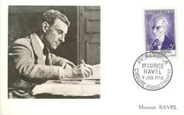 Maurice Ravel  YT 379 Premier Jour Ciboure 9 Juin 1956 Carte Maximum Card CM - Cartas Máxima