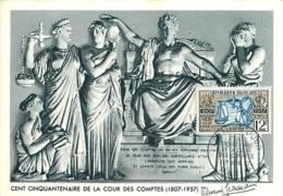 Cent Cinquantenaire Cour Des Comptes YT 1107 Premier Jour  1er Juin 1957 Carte Maximum Card CM - Cartas Máxima