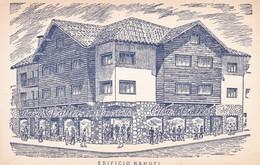 EDIFICIO NAHUEL. CASA VALLES LES DESEA UNA FELIZ ESTADIA. SAN CARLOS DE BARILOCHE, RIO NEGRO. CIRCA 1940s - BLEUP - Argentinië