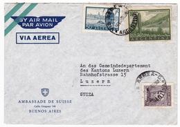 Lettre Ambassade De Suisse Argentina Argentine Buenos Aires Luzern Suiza Switzerland Swiss Ambassy - Argentinien