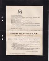 UCCLE Zoé Van Der HORST Veuve De Ferdinand CHANSAY 79 Ans 1908 Saint-Josse Uccle Villa Jean Marcel - Décès