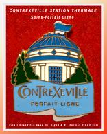 SUPER PIN'S CONTREXEVILLE - STATION THERMALE Des VOSGES ( Les THERMES) émaillé Grand Feu Base Or, A.B, 2,8X2,3cm - Städte