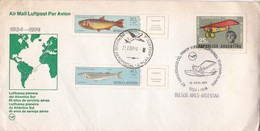 AIRMAIL LUFTPOST PAR AVION LUFTHANSA PIONERA DEL ATLANTICO SUR, 40 AÑOS PRIMER SERVICIO STUTTGART BS AIRES 1974 - BLEUP - Airmail