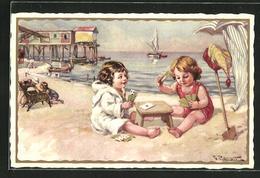 AK Kinder Beim Kartenspiel Am Strand - Cartes à Jouer
