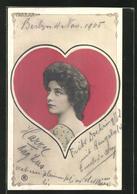 AK Damenportrait Im Herz-Rahmen, Kartenspiel - Spielkarten