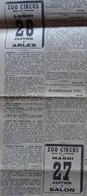 CIRQUE 2 Placards Publicitaires CIRQUE ZOO CIRCUS Dans LE PETIT PROVENÇAL Du 19 Janvier 1931 (villes Arles & Salon) - Autres