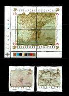 Singapore 1989 Sc # 545a-d + 546 / 547  MNH **  Old Maps Of Singapore - Singapour (1959-...)