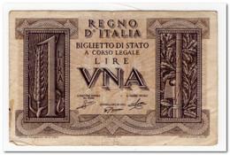 ITALY,1 LIRA,1939,P.26,aVF - Italia – 1 Lira