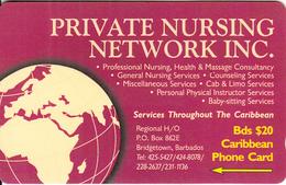 BARBADOS ISL.(GPT) - Private Nursing Network Inc., CN : 263CBDA, Tirage 30000, Used - Barbades