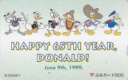 Carte Prépayée Japon - DISNEY - DONALD DUCK 2 ** 65TH YEAR ** - Japan Prepaid Fumi Card - Disney