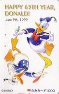 Carte Prépayée Japon - DISNEY - DONALD DUCK 3 ** 65TH YEAR ** - Japan Prepaid Fumi Card - Disney