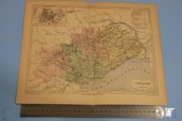 Carte Géographique - C: 1880, Dep. L'Hérault Avec Le Plan De Montpellier,  Par V.A. Malte-Brun,+illustration Montpellier - Cartes Géographiques