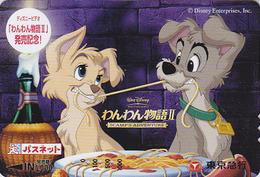 Carte Prépayée Japon - DISNEY - BELLE & CLOCHARD 1 - LADY & TRAMP Chien Dog - Japan Prepaid Passnet Card - Disney