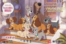 Carte Prépayée Japon - DISNEY - BELLE & CLOCHARD 2 - LADY & TRAMP Chien Dog - Japan Prepaid Passnet Card - Disney