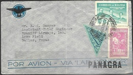 Bolivia  1952  Airmail Cover To Braniff Airways Dallas TX - Bolivien