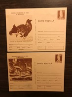 ROMANIA 1973 Postal Stationery PSC Birds Kestrel Brown X 2 Mint - Birds