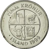 Monnaie, Iceland, 5 Kronur, 1999, TTB, Nickel Plated Steel, KM:28a - Islande