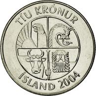 Monnaie, Iceland, 10 Kronur, 2004, TTB, Nickel Plated Steel, KM:29.1a - Islande