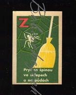 B250 CZECHOSLOVAKIA 1964 Action Z Communist Era Nationwide Volunteer Work Down The Dirt - Broom Cobweb , Spider Web - Boites D'allumettes - Etiquettes