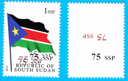 SOUTH SUDAN Surcharge Overprint Printing Trial On 1 SSP Flag Stamp Südsudan Soudan Du Sud OP112 - Sud-Soudan