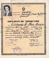 "Romania, 1961, Vintage Graduation Certificate / Diploma - ""Nicolae Kretulescu"" Commercial School, Bucuresti - Diplômes & Bulletins Scolaires"