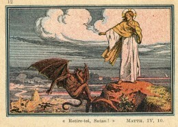 HOLY CARD IMAGE PIEUSE RETIRE TOI SATAN .... 9 X 7 Cm - Imágenes Religiosas