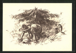 AK Camper Auf Den Knien Unter Der Tanne - Scouting