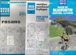 Carte Topographique Et Randonnée IGN Série Bleue, Rhône-Alpes - Lot De 3 Cartes N° 3239, 3532, 3533 Au 1/25.000e - Cartes Topographiques