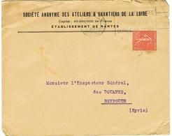 COURRIER ADRESSE DE NANTES A BEYROUTH LIBAN AVEC CACHET D'ARRIVEE - 1921-1960: Période Moderne