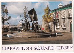 Jersey C.I.: RENAULT MEGANE, PEUGEOT J5, VW T2B TRANSPORTER, PILLAR-BOX - Liberation Square - (John Hinde) - Toerisme