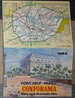 Petit Calendrier De Poche 1993 Conforama Paris Pont Neuf - Plan Métro R E R - Calendriers