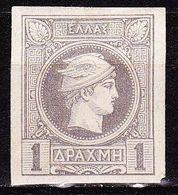 GREECE 1886-88 Small Hermes Head  Belgian Print 1 Dr.grey Imperforated Vl. 84 MH - 1886-1901 Hermes, Klein