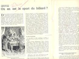 """Billard - Article """" Où En Est Le Sport Du Billard ? Extrait De La Revue Automobile ENGLEBERT Oldtimer Ford V8 (jm) - Billard"""