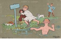 19 / 1 / 214. -  1. Cpa  Série  Les  Sports  -  La. Natation   - Signé Ch Beauvais - Beauvais